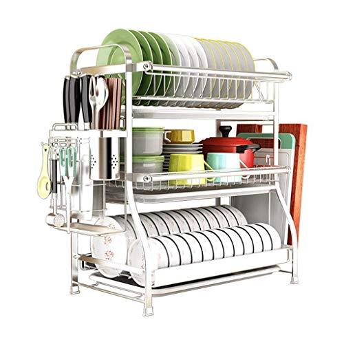 KFDQ Escurridor de platos de acero inoxidable de 2 niveles | Escurridor de platos multifunción | Soporte para cubiertos con bandeja para secadora de cocina y bandeja de goteo,54 × 30 × 45cm