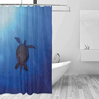 EMODFJCXZ Children's Bathroom Shower Curtain Ocean Sea Turtle Swims to The Surface of Deep Sea with The Sunlight Nature Picture Art Art Print Polyester W66 xL72 Aqua Navy Brown