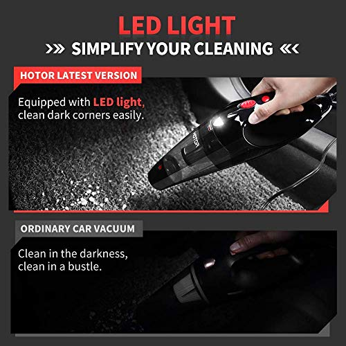 Car Vacuum Cleaner High Power, HOTOR Vacuum for Car, Best Car Vacuum, Handheld Portable Auto Vacuum Cleaner Powered by 12V Outlet of Car, Come with 1 Extra Stainless Steel HEPA Filter - Black & Red