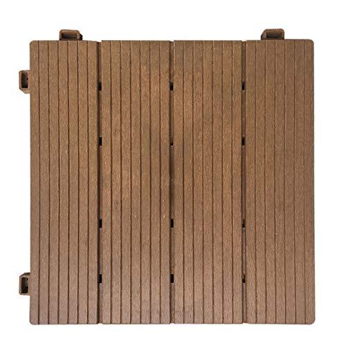 YuPaoPao Wood Flooring Decking Patio Pavers, Interlocking Wood Plastic Composite Tiles Outdoors Garden Porch Balcony- 12