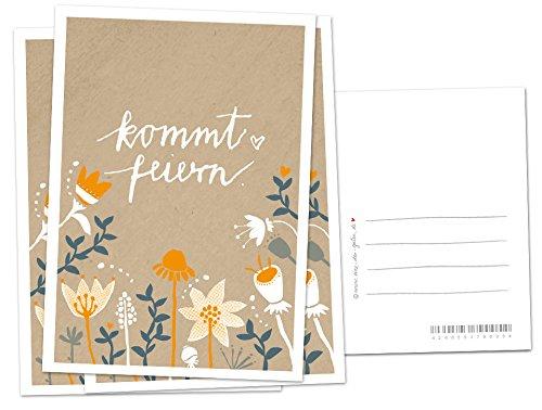10 Einladungskarten - Kommt feiern! - Beige Orange mit Blumen, geschmackvolle Einladung zu Hochzeit, Geburtstag und Jubiläum auf hochwertigem Recyclingpapier