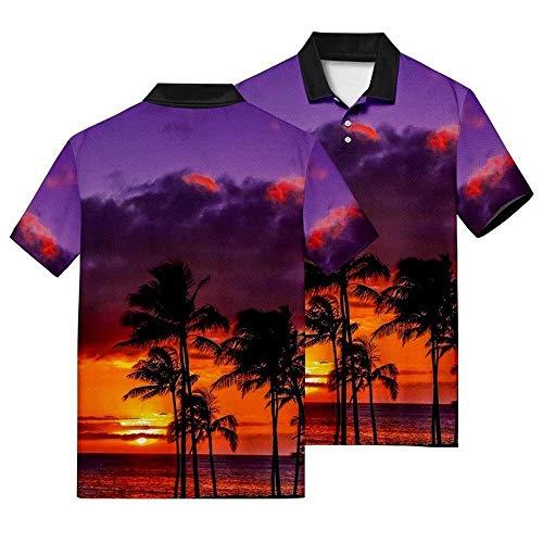 Polo De Manga Corta,Ropa Polo Transpirable De Estilo Hawaiano Con Estampado En 3D, Top Casual Con Estampado De Cielo Morado, Camisa Clásica De Hombre De Secado Rápido, Para Camiseta De Vacaciones D