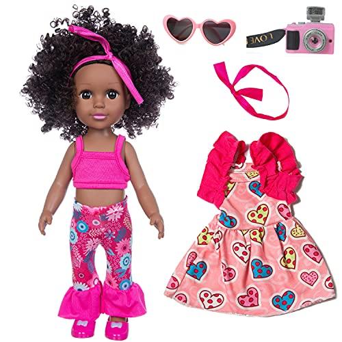 14 Pulgadas Muñeca Negra para Niñas Muñeca Afroamericana Muñecas de Silicona Realista Muñecas Africana Negro Renacido Muñecas del Bebé del Juguete con 2 Piezas de Vestido
