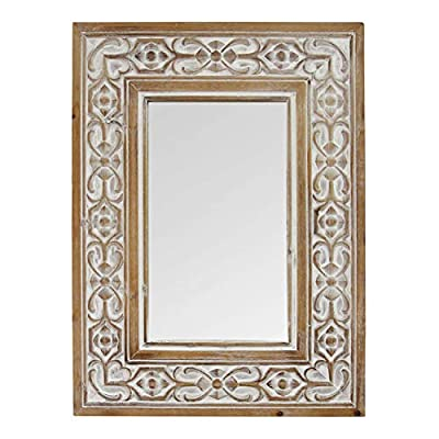 Stratton Home Décor Stratton Home Decor Hillary Wall Mirror, Natural Wood, White