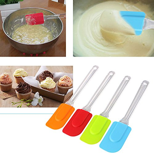 Vicloon Silicone Spatula Set, 4 PCS Colorful Cake Cream Butter Spatula, Kitchen Silicone Mixing Scraper Tool for Cooking and Baking