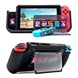 Protective Case for Nintendo Switch , Grip Case with 7 Storage Slots for Game Cards, Multi-Angle Adjustable Stand, Grip Cover with Shock-Absorption and Anti-Scratch Design