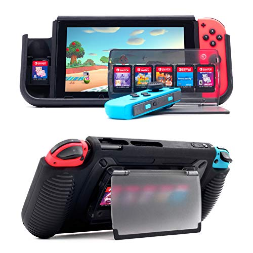 Protective Case for Nintendo Switch, Grip Case with 7 Storage Slots for Game Cards, Multi-Angle Adjustable Stand, Grip Cover with Shock-Absorption and Anti-Scratch Design