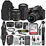Nikon D3500 DSLR Camera with with 18-55mm and 70-300mm Lenses + 64GB Card, Professional Tripod, Battery, and Platinum Bundle