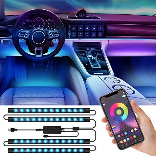 MMcRRx Umgebungslichter im Auto RGB LED Streifen, 48 RGB LED Lichtband mit mobiler App-Fernbedienung und Infrarot-Fernbedienung, farbdimmbar, 5050-LED-Streifen für Atmosphärenlicht im Auto