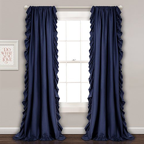 Lush Decor Reyna Window Curtain Panel Pair, 54 x 84, Navy