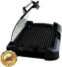 MegaChef Dual Surface Heavy Gauge Aluminum Reversible Indoor Grill and Griddle with Removable Glass Lid, 15