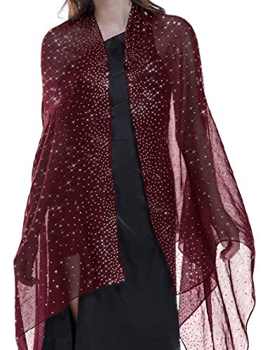 Shawls and Wraps for Evening Dresses Shiny Scarf Red