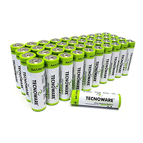 Tecnoware Power Systems Ultra Alcaline AA Batterie, 1.5 Volt, per Giocattoli, Controller, Telecomandi, Torce, Orologi, Console, Confezione da 40 pezzi
