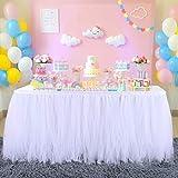 nssonben rosa tutu gonna da tavolo rosa tulle gonne da tavolo per feste matrimoni festa di compleanno bambino doccia decorazione 4.5yard/14ft/l427cm*h77cm
