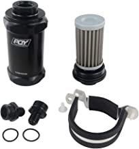 PQYRACING 1pcs AN6 Inline PQY Fuel Filter E85 Ethanol with 100 Micron Stainless Steel Element and PQY Sticker