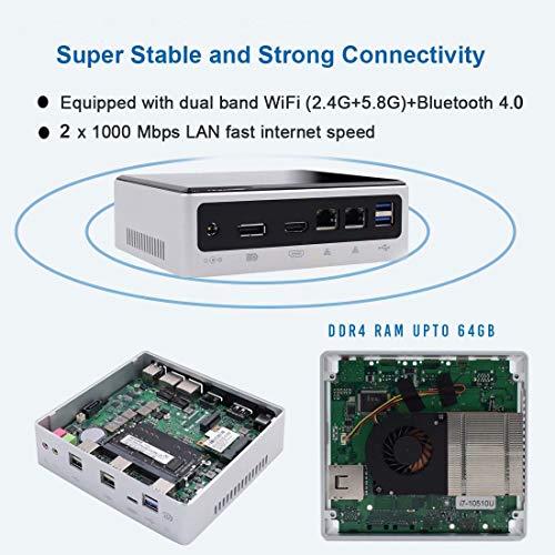 VENOEN NUC Mini PC,Intel Core i7 8550U/8559U Windows 10 pro HD 4K Micro Desktop Computer,64G DDR4/1T NVME SSD/HDMI+DP Output/2 Lan/WiFi Dual Band/BT 4.2