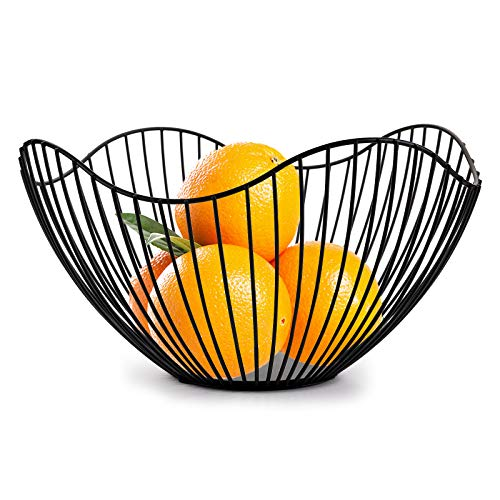 TOPZEA Metal Wire Fruit Bowl, Round Fruit Basket Dish Stand for Bread, Fruits, Vegetable, Snacks, Households Items Storage for Living Room, Kitchen, Countertop, Pantry, Office (Black)