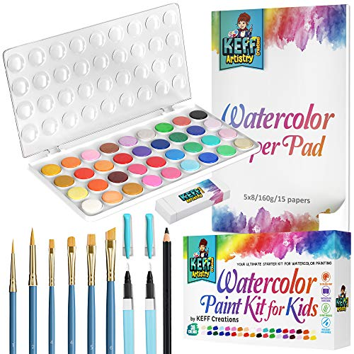 Watercolor Paint Set – KEFF Creations 36 Premium Water Colors Painting Supplies kit for Adults & Kids, 6 Paint Brushes, 2 refillable Watercolor Brushes, Painting Paper Book, Sketch Pencil, Eraser