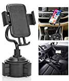 Cup Phone Holder for Car, Cell Phone Holder for Car Portable Cup Holder Phone Mount with Universal Adjustable Gooseneck for iPhone Samsung Galaxy and More (Black)