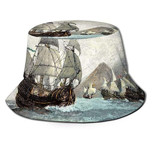 Dhrenvn Cubo sombrero pintura al óleo vela barco unisex protección UV sombrero verano viaje playa sol Cap Packable al aire libre pescador Cap negro