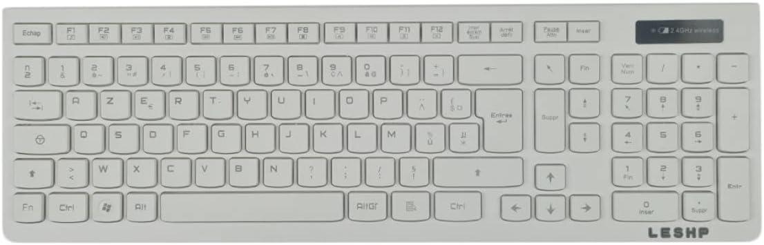 Monllack Kit Combinado de Teclado inalámbrico, Teclado inalámbrico de 2,4 GHz y ratón óptico con Receptor USB, Teclado de ratón para Juegos para Ordenador portátil, Jugador (Blanco)