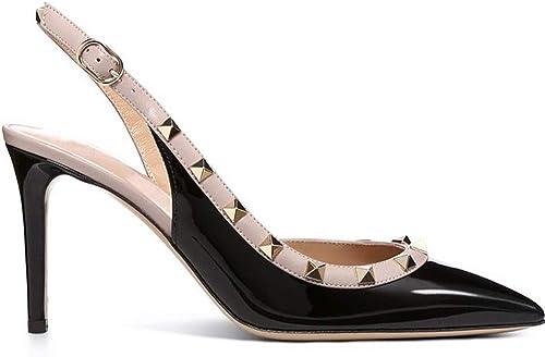 MAKAFJ Mode féminine Rivet à Talons Hauts Pointu à La Cheville Bretelles Goujons Stiletto à Talons Slingback Sandals Cloutés Robe De Soirée Court Chaussures