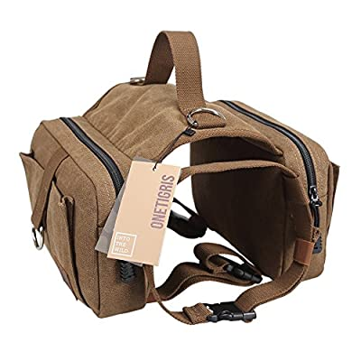 """OneTigris Dog Pack Hound Travel Camping Hiking Backpack Saddle Bag Rucksack for Medium & Large Dog with 16""""-26"""" Neck Girth and 30""""-42"""" Chest Girth (Brown, Large)"""