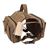 "OneTigris Dog Pack Hound Travel Camping Hiking Backpack Saddle Bag Rucksack for Medium & Large Dog (Old Vesion, One Size:(Neck:16""-26"