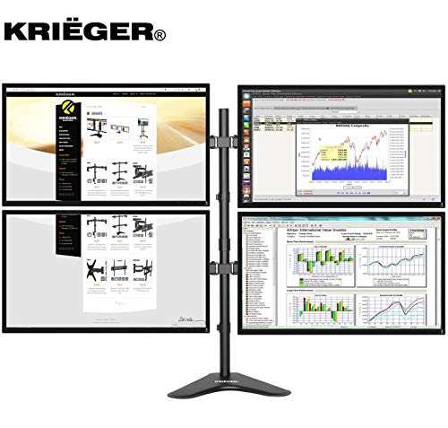 Krieger Monitor Mounts Series, Vesa Compatible, Full Motion Articulating Arm Monitor Stand (Dual Stand Monitor)