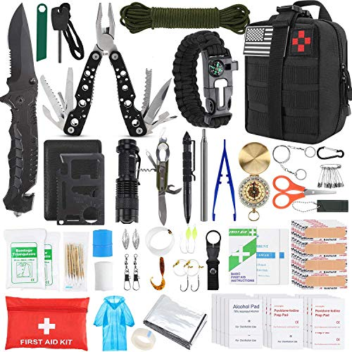 Gifts for Men Dad Husband Fathers Day, KOSIN Survival Gear and Equipment,100 Pcs Survival Kit First Aid Kit Molle System Compatible Outdoor Gear Emergency Tourniquet Medical Kit Trauma Bag for Camping
