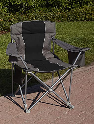 LivingXL 1000-lb. Capacity Heavy-Duty Portable Oversized Chair, Collapsible Padded Arm Chair with Cup Holders and Lower Mesh Side Pocket, Black