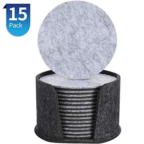 Luxuriöse fester grauer Stein Getränke-Untersetzer Set aus 6