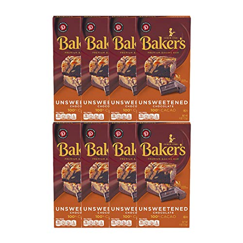 Baker's Unsweetened Baking Chocolate Bar, 4 Oz (Pack of 8)