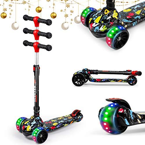 UNI-SUN Kids Scooter mit klappbarem und abnehmbarem Sitz - 3-Rad Kids Scooter mit LED-Blinkrad Höhenverstellbarer Roller für Kinder von 2 bis 13 Jahren