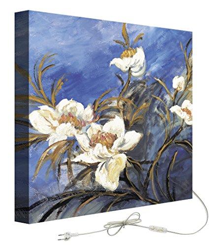 decoratief – Schilderij met achtergrondverlichting Bloemen Blauwe Achtergrond 50.00x50.00x5.00 cm veelkleurig