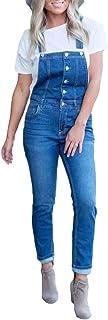 Huicai 女性のファッションストレッチボタンのフロントジーンズ調節可能なストラップカジュアルなオーバーオールジャンパーズカーブスリムスキニージーンズDemin Romperポケットパンツ