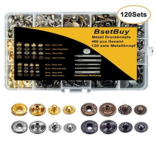 BSET BUY 120sets Metall Druckknöpfe,Leder Niet 12.5mm und 10mm Zwei Größen mit Fastener Tool, Nieten für Bekleidungs-Reparatur, Jacken, Jeans, Taschen, Riemen und Nähen Jobs