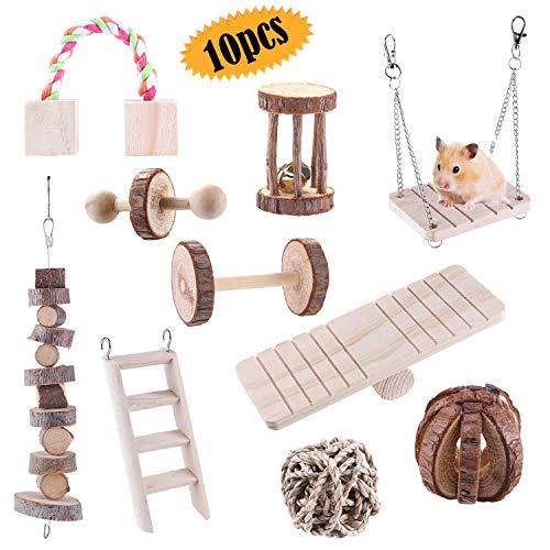 Bluesees 10 Stück Hamster-Kauspielzeug natürliches Spielzeug , Meerschweinchen, Ratten, Chinchillas, Spielzeug für Hanteln, Übungsglocke, kleine Haustiere, Zahnpflege, Molar Spielzeug für ,Rennmäuse
