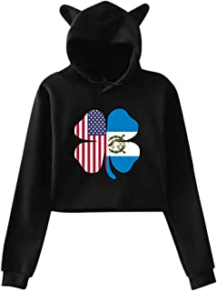 American Guatemalan Flag Shamrock Teen Girls Long Sleeve Crop Hoodie Stylish Cat Ear Sweatshirt Pullover