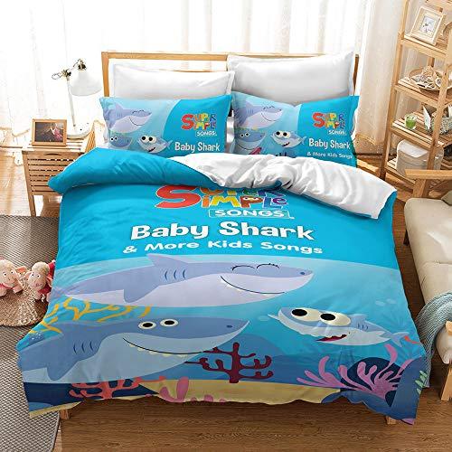 Meiju 3D Bedding Set, Duvet Cover Set with Microfiber Pillowcases & Zipper Closure Quilt Case Printed Effect for Kids Boy Girl Single Double King Size Bed (Baby Shark D,220x240cm)