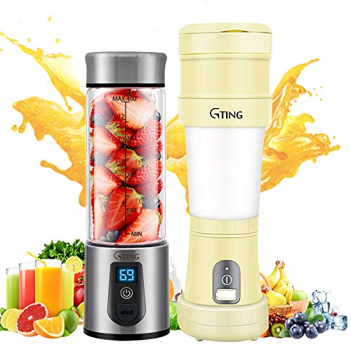Portable Blenders, G-TING Personal Smoothies Blenders Cordless Collapsible, Single Serve Mini Blender 450ml/500ml USB Rechargeable Small Juice Mixer Portable Juicer Shakes, Smoothies Food Grade