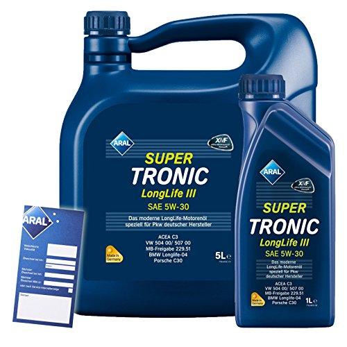 1 L + 5 L = 6 Liter ARAL SuperTronic Longlife III 3 5W-30 Motoröl inkl. Ölwechselanhänger