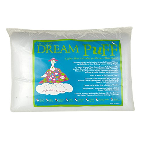 Quilters Dream Puff Batting x 60in Throw, Each, White