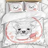 DUROMHUA Bettwäsche - Bettwäscheset Welpen-Aquarell-entzückender weißer Chihuahua-Rosa-Hündchen-Schwarz-Bogen-Zucht-Charakter Mikrofaser weich dreiteilig Mit 2 Kissenbezügen 135 * 200