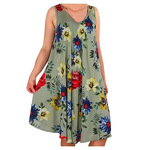 KI-8jcuD Vestido de flores para mujer, cuello en U, sin mangas, holgado, informal, holgado, holgado, informal, swing, vestido fluido, vestido de playa
