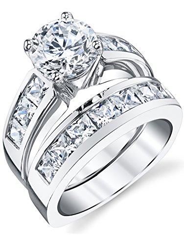 Ultimate Metals Anello di fidanzamento in argento con pietra di zirconio taglio rotondo e principessa - fede nuziale in argento con pietra di zirconio da donna