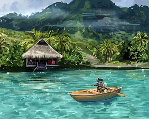 Kpoiuy Pintar por NúMeros DIY Fondo De Pantalla Mapache Barco Agua Gracioso Arte DecoracióN De La Boda De La Lona Imagen del Arte Regalo 40 * 50CM