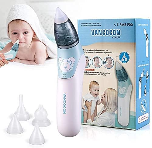 Mouche bébé, Ultpeak 2 en 1 Aspirateur nasal électrique avec 4 buses à morve réutilisables pour les nouveau-nés, les tout-petits et les enfants de bas âge
