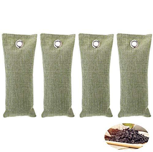 Bambus Lufterfrischer Aktivkohle, Queta 4 Stück Natürliche Aktivkohle Luftreiniger Raumerfrischer für Auto, Bad, Garderobe, Küche, Küchenschränke Schuh Deodorator, 75g Jeder