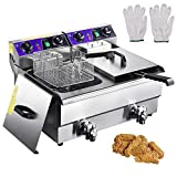 ReaseJoy 20L 6000W Commercial Electric Deep Fryer Countertop Stainless Steel Dual Tank with Drain and Timer
